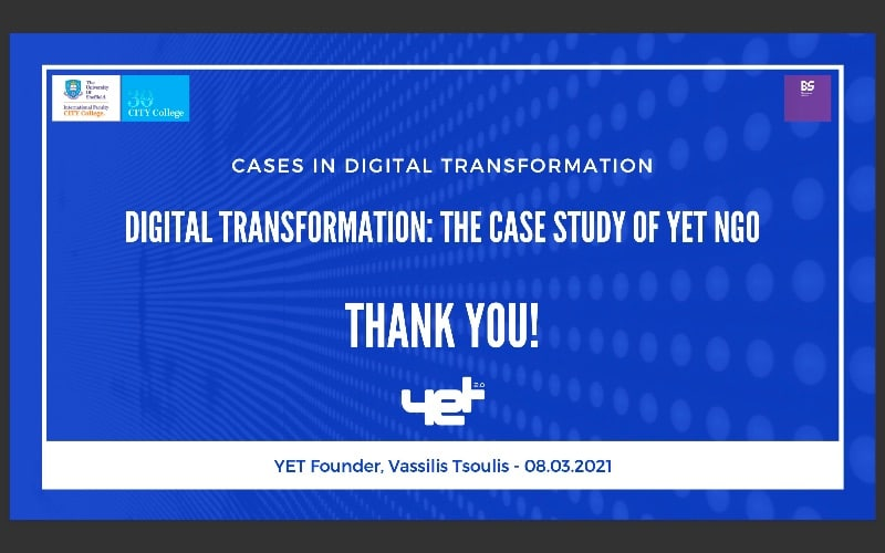 Read more about the article YET Digital Transformation guest lecture at City College